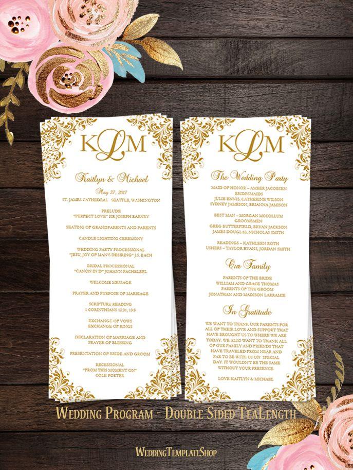 Slim Wedding Program Kaitlyn Gold