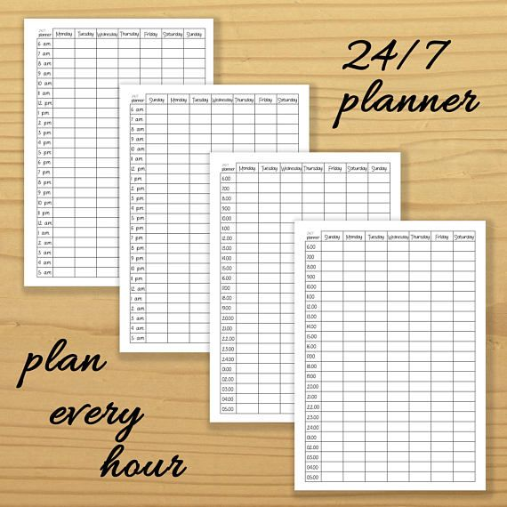 24/7 Planner PRINTABLE. Twenty Four Hours Planner