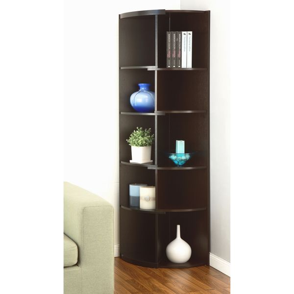Furniture Of America Shifter Modern Expandable Two Tone Corner Bookcase Display Stand Black Cuccino