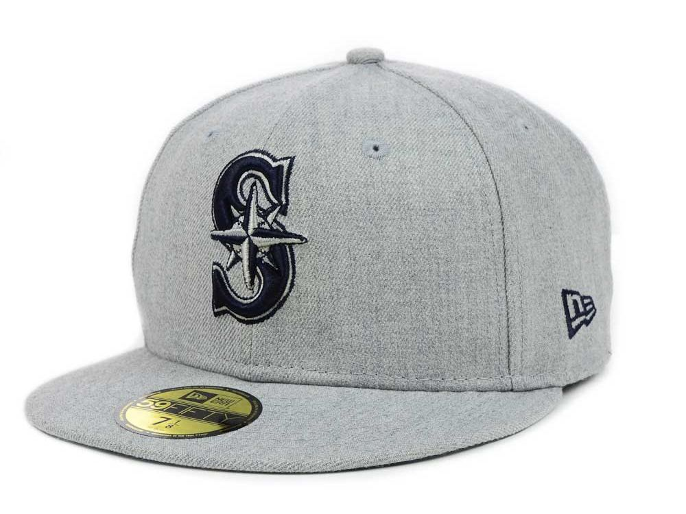 online store 3dfbf 54992 ... low price seattle mariners new era gray navy navy new era mlb heather  basic 59fifty cap