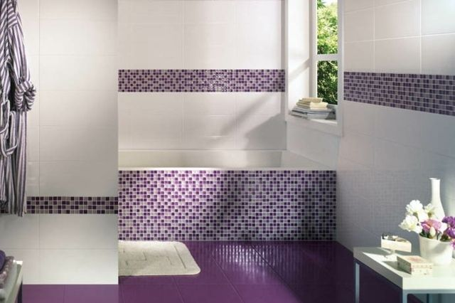 Carrelage Mural Salle Bains Mosaique Blanc Pourpre