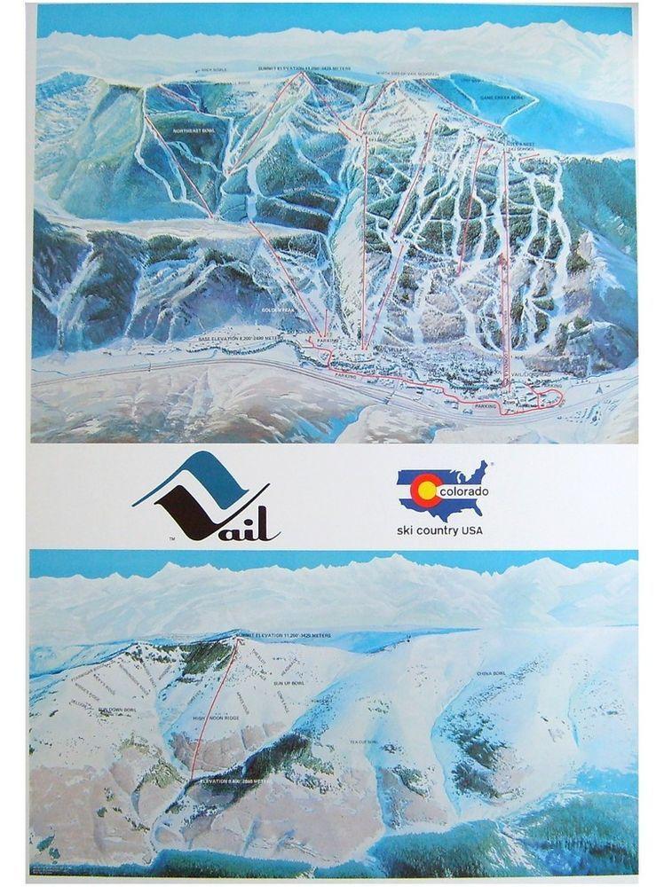Vail Colorado Ski Area Trail Map Poster Vintage 1975