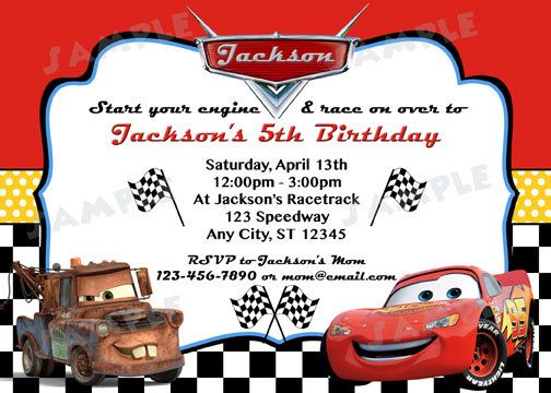 Disney Cars Inspired Invitation DIY Digital by modpoddesigns – Printable Cars Birthday Invitations