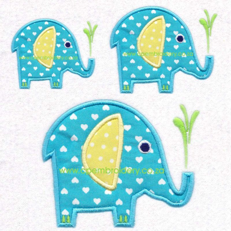 Elephant African Animal Applique Set Of 3 Sizes Cpembroidery