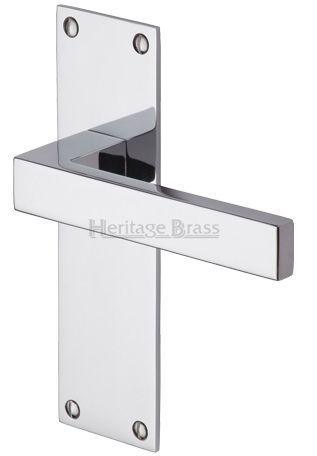 Heritage Brass U0027Metro Low Profileu0027 Polished Chrome Door Handles On  Backplate   MET4900