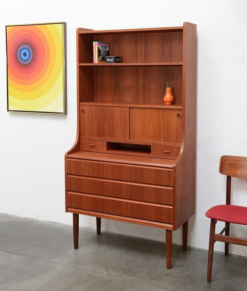 1960s Danish Modern Teak Secretary Desk Chest Bookcase Shelf Vintage Mid Century Modern Secretary Desk Secretary Desks Bookcase Shelves