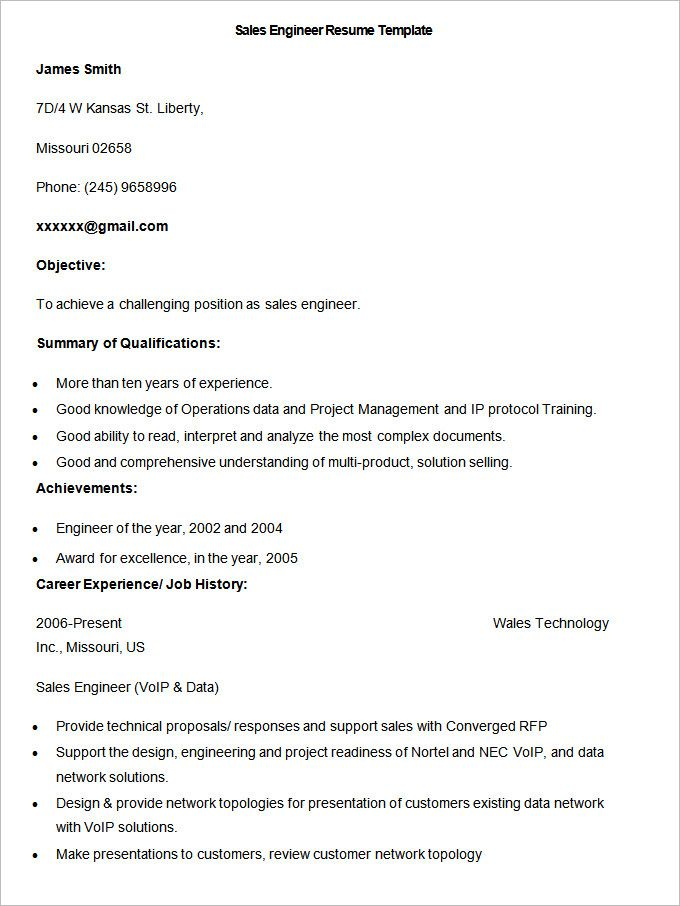 sample sales engineer resume template write your resume much