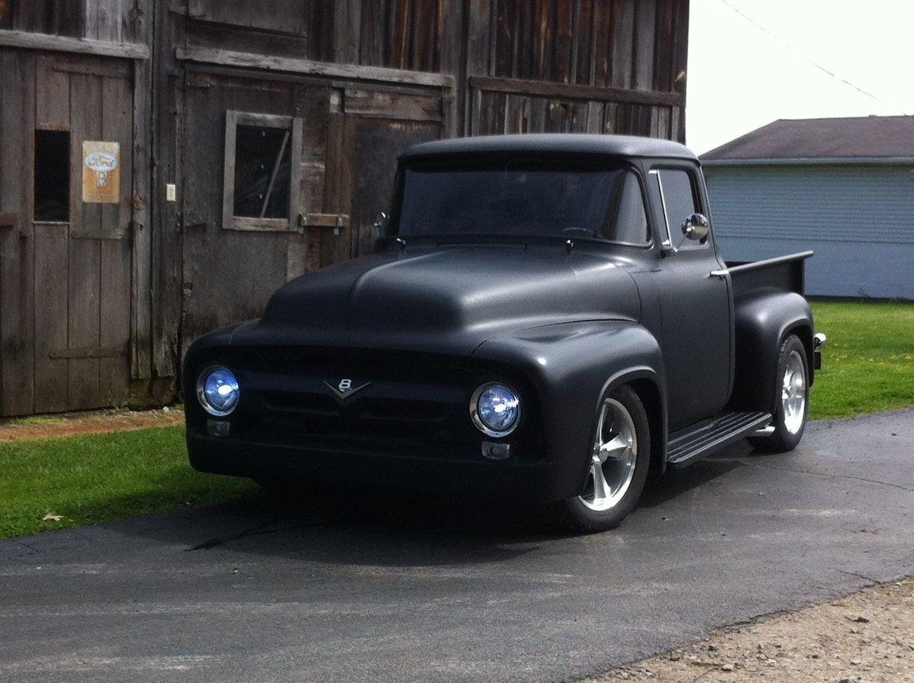 1956 Ford F100 Wow I Just Love The Flat Black Minimal Chrome
