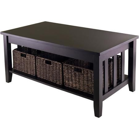 Morris Coffee Table with 3 Baskets EspressoWicker baskets