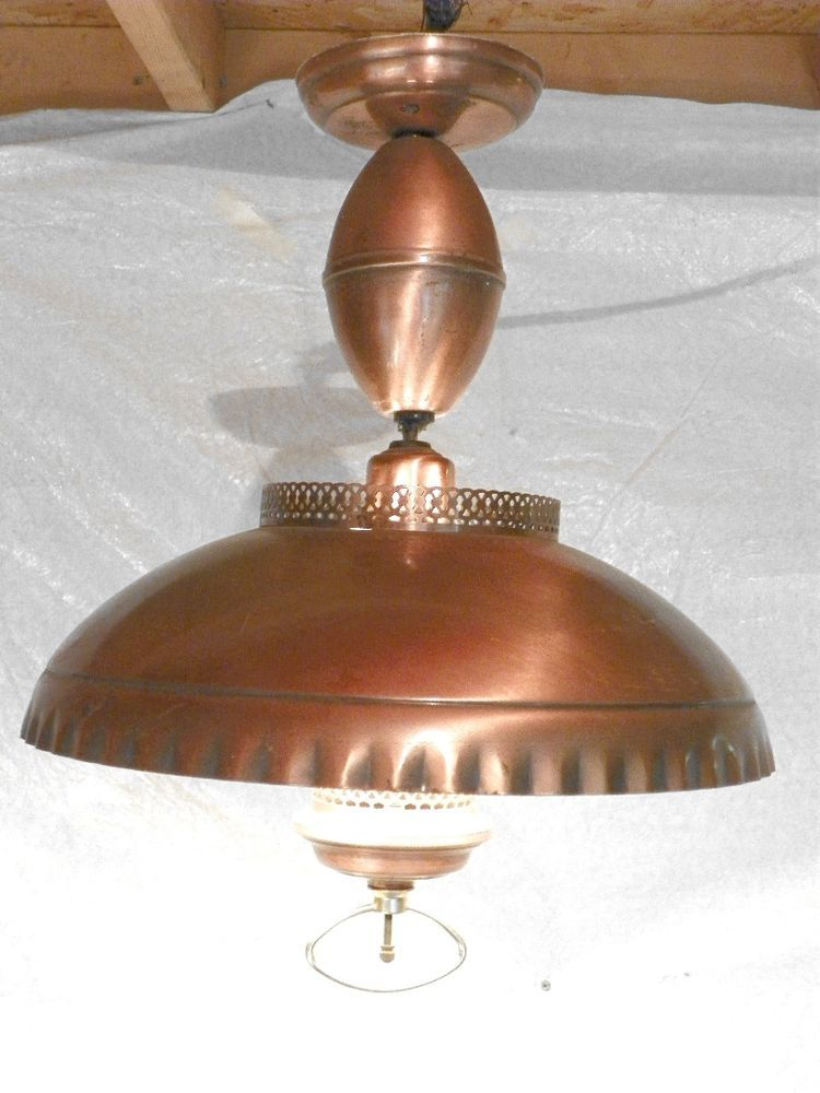 Vintage Mcm Copper Pull Down Hanging Ceiling Chandelier Fixture Light Lamp Light Fixtures Ceiling Lights Light