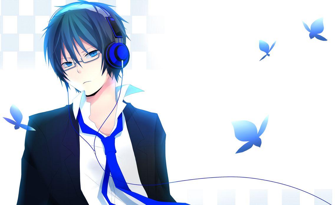 Anime Boy Blue Headphones Seni