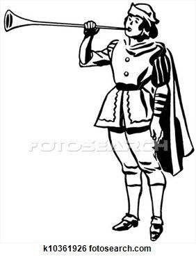 A black and white version of a drawing of a man in a renaissance era playing a horn or trumpet View Large Illustration
