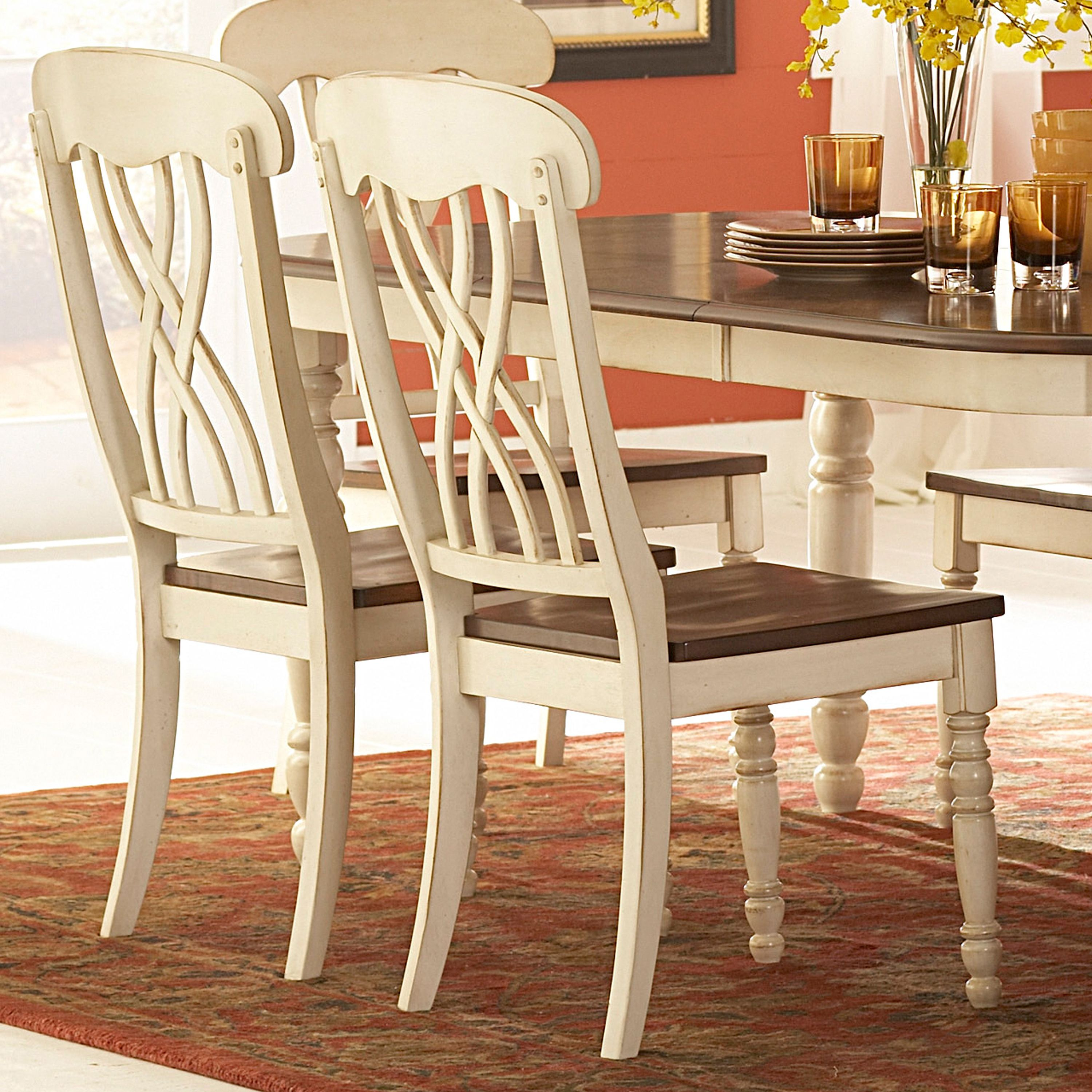 This charming set of chairs would make a lovely addition to the country style  furniture in your home. Crafted of solid hardwood with a two-toned  buttercream ...