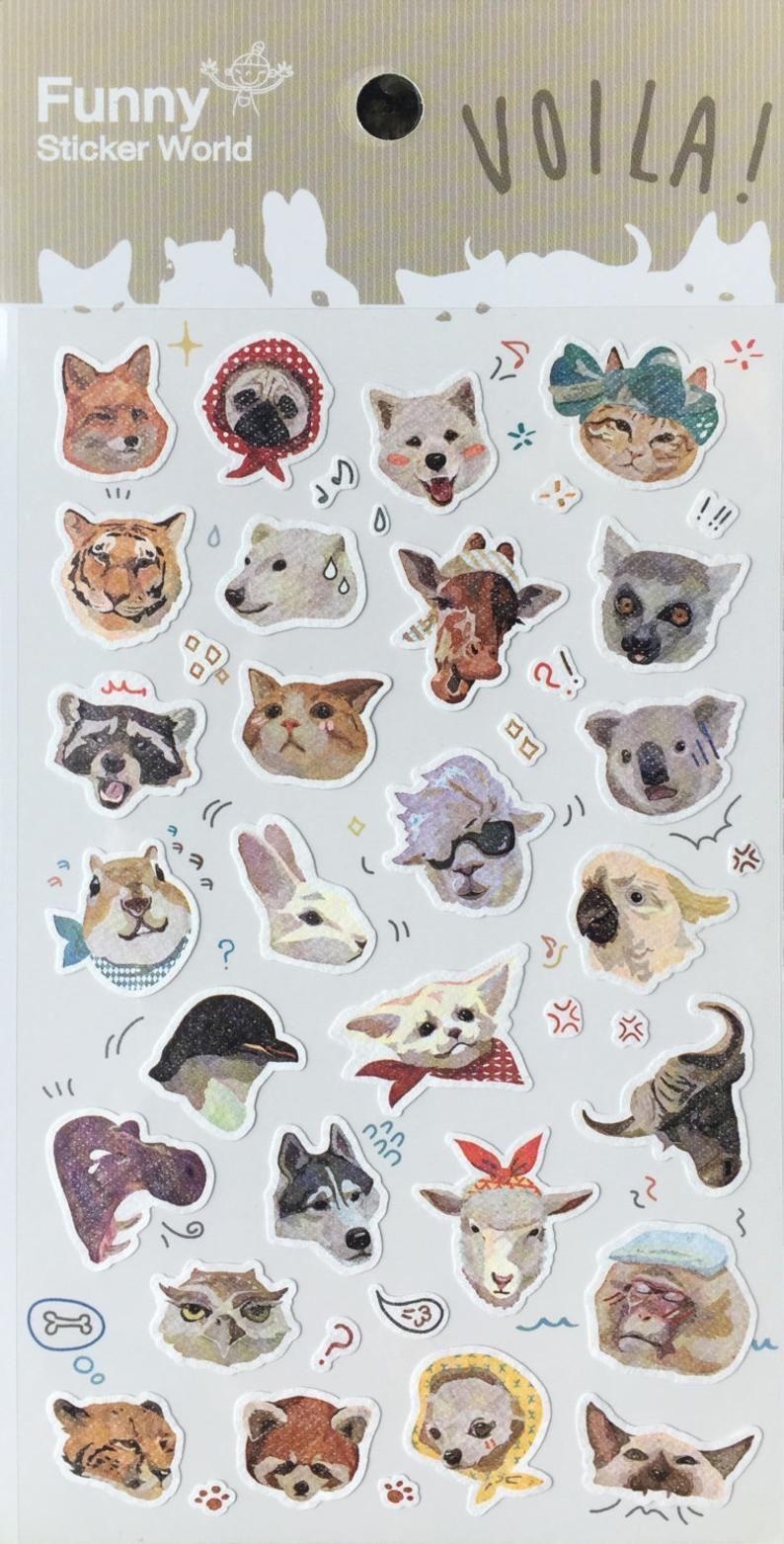Funny Animal Sticker,Alpaca,Cat,Dog,Tiger,Rabbit, cute
