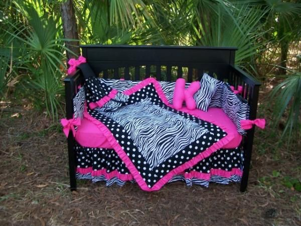 Hot Pink Black Zebra Polka Dots Crib Bedding Set 325 Custom For Kids Toddlers Infants Small Children