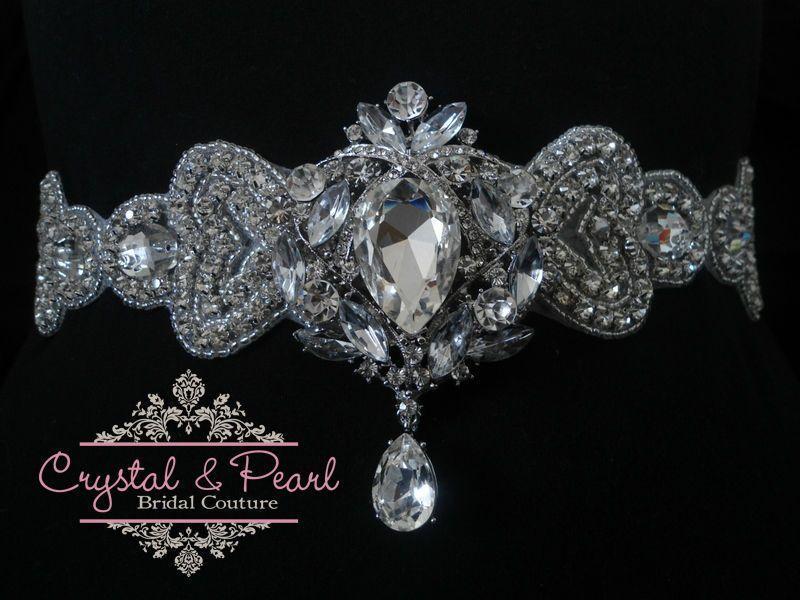 Vintage Crystal Wedding Sash Belt Glam Dress Diamond Rhinestone Bride Art Deco in Clothes, Shoes & Accessories, Wedding & Formal Occasion, Bridal Accessories   eBay