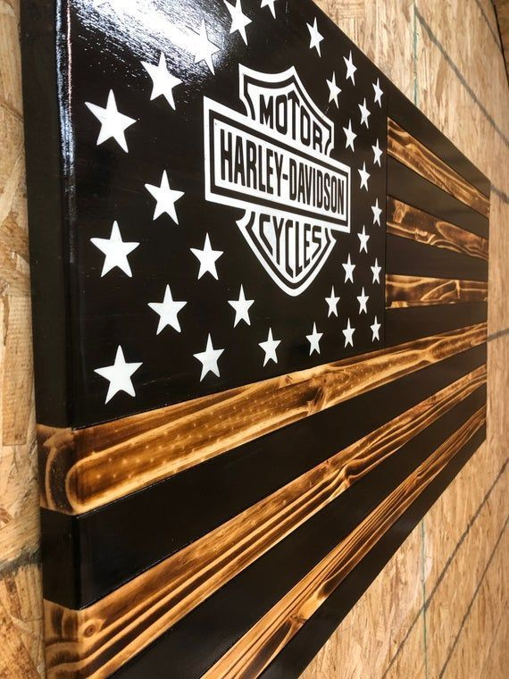This item is unavailable #woodenwalldecor Harley Davidson Rustic American Flags
