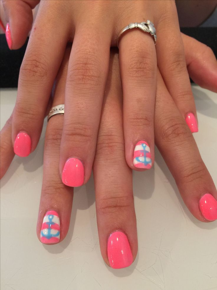Photo of Take your trip with Glamulet charmsPink with stripe and blue anchor accent nail