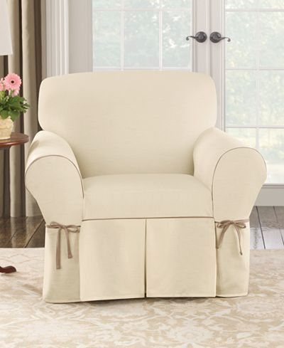 Sure Fit Cotton Canvas One Piece T Cushion Chair Slipcover   T Cushion Slip  Covers