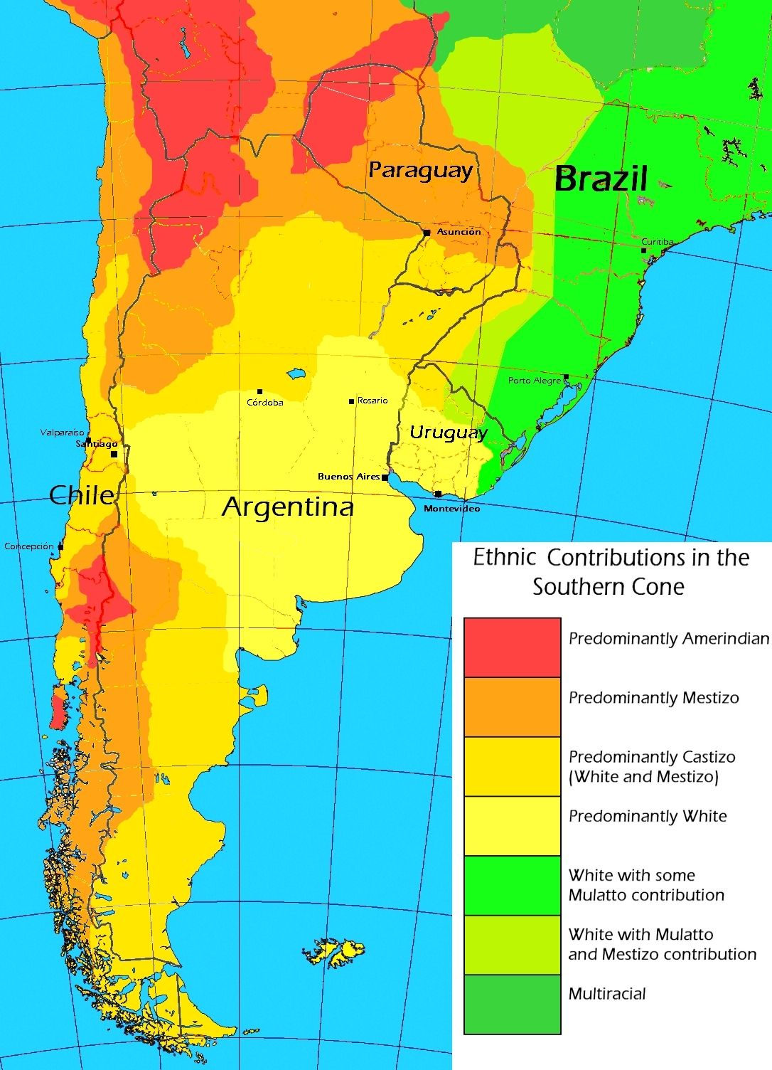 Ethnic Contributions in the Southern Cone of South America ... on ethnic groups of central america, ethnic population of europe, aboriginals in south america, paraguay map south america, ethnic western asia map, ethnic populations in africa, ethnic origin us map by county,