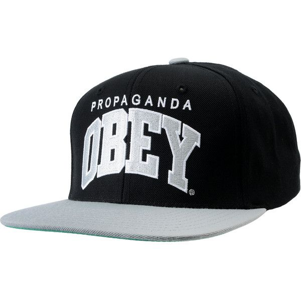 Obey Throwback Black Silver Snapback Hat (37 AUD) ❤ liked on Polyvore featuring accessories, hats, snapbacks, caps, obey clothing, silver hat, cap snapback, embroidery hats and adjustable snapback hats