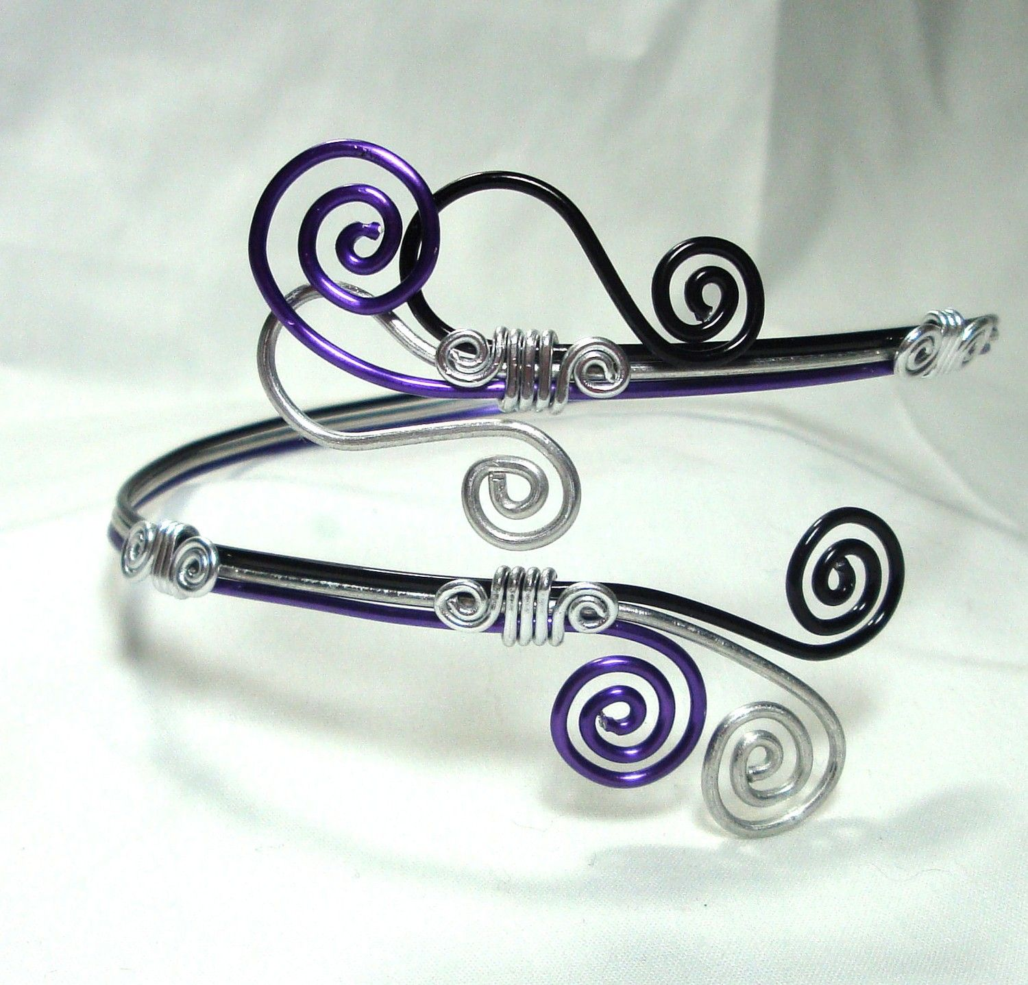 Arm Band Cuff Black Purple and Silver Aluminum Wire Arm cuffs