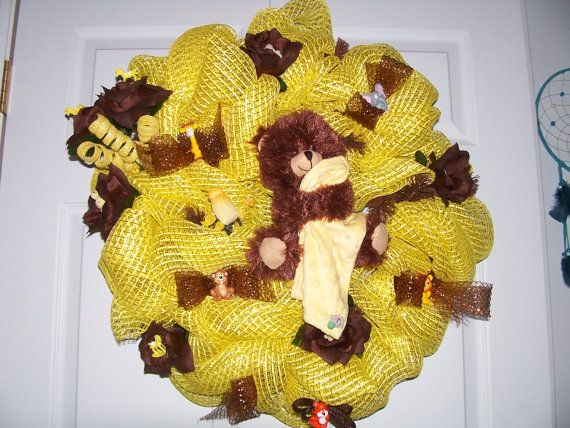 Baby Yellow and Brown oasis mesh wreath by jeaniscreativewreath. Explore more products on http://jeaniscreativewreath.etsy.com