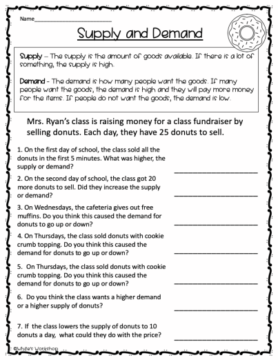 Economics Supply And Demand Worksheet In 2020 Social Studies Worksheets Third Gra In 2021 Social Studies Worksheets 7th Grade Social Studies Third Grade Social Studies