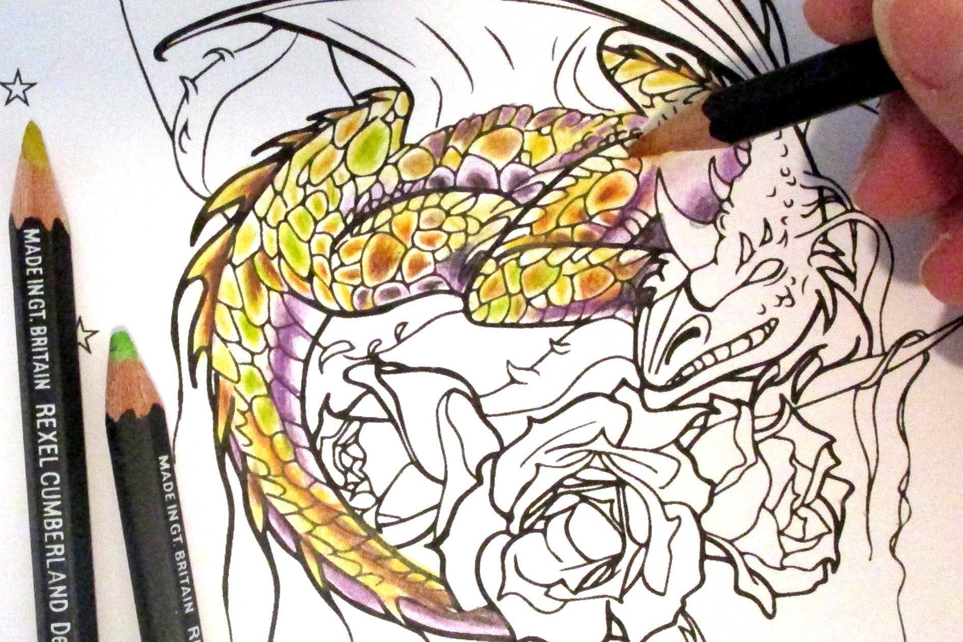 Watch me colour a Dragon from my colouring book \'Spirt & Fantasy ...
