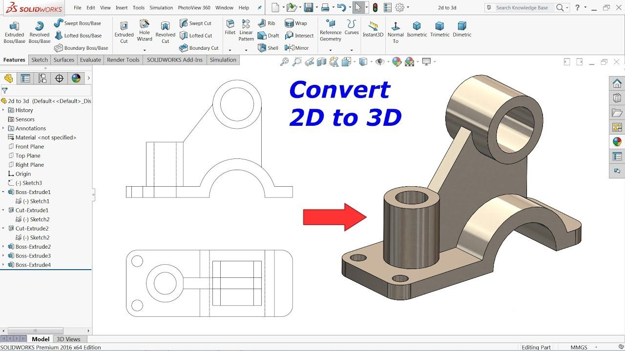 Convert 2d Drawing Into 3d Model In Solidworks Youtube Em 2020
