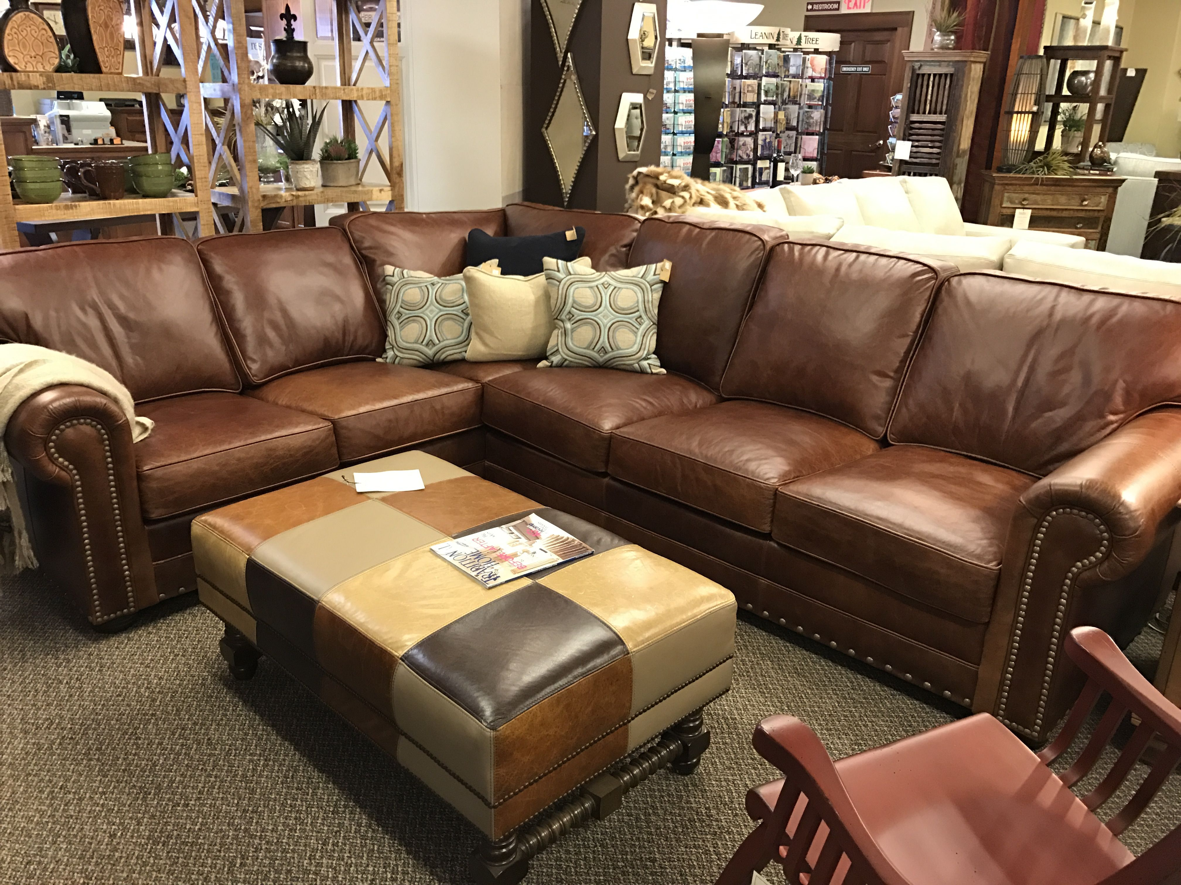 Cognac leather sectional. Cozy living rooms, Furniture