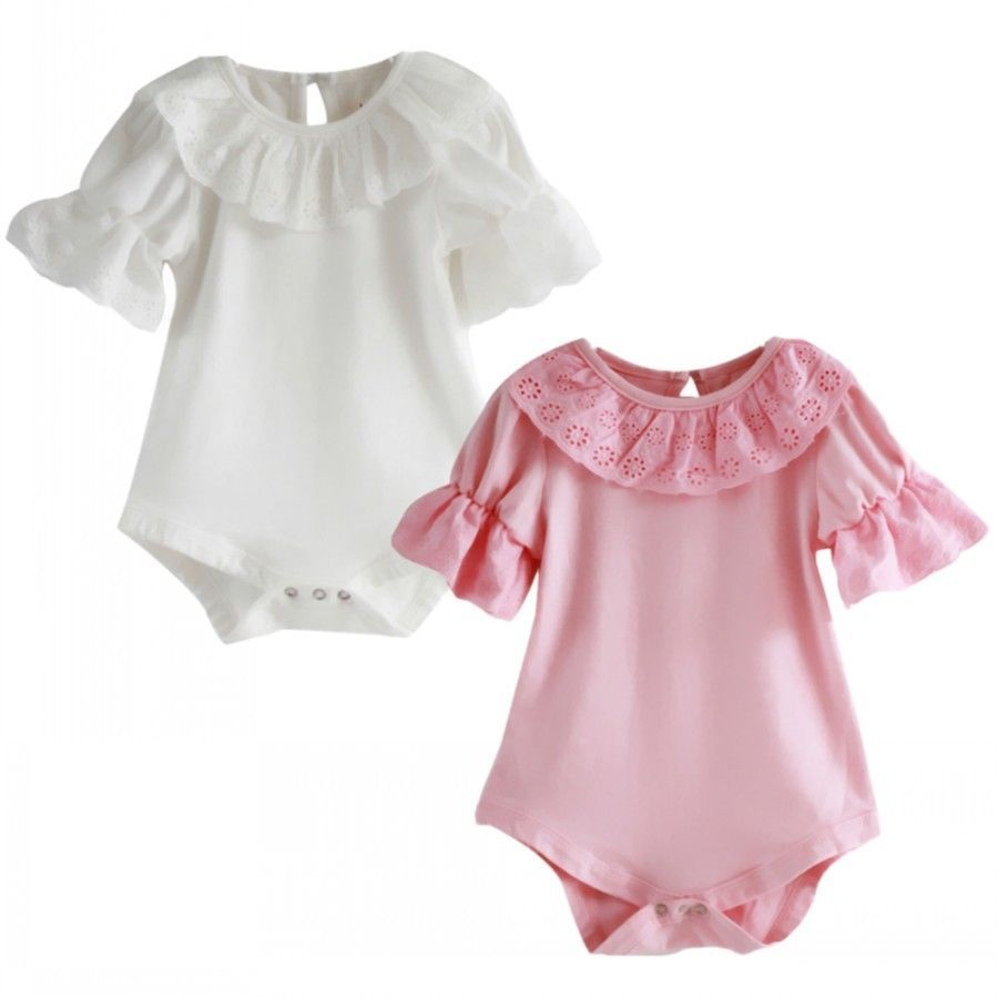 113a16010 Flower Lace Collar Infant Toddler Baby Girls Short Sleeve Solid ...