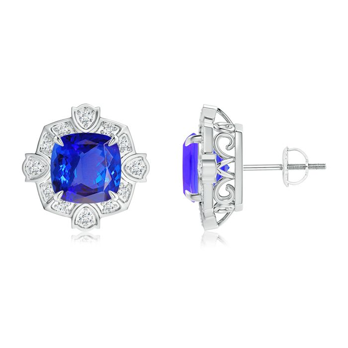 Angara Bezel-Set Tanzanite and Diamond Halo Stud Earrings in Yellow Gold i63QzmuVm