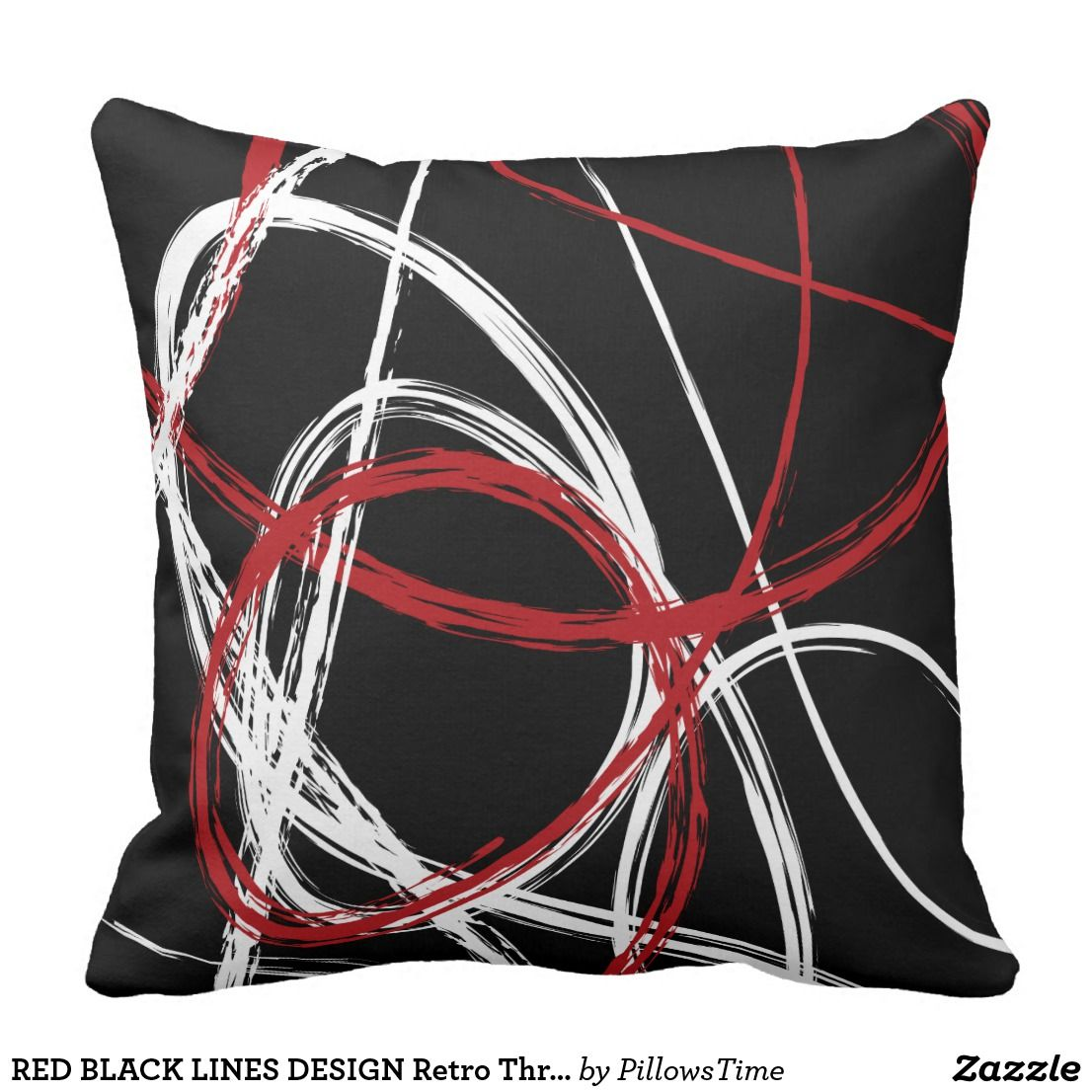 Red Black Lines Design Retro Throw Pillow Zazzle Com Retro Throw Pillows Throw Pillows Decorative Pillow Cases