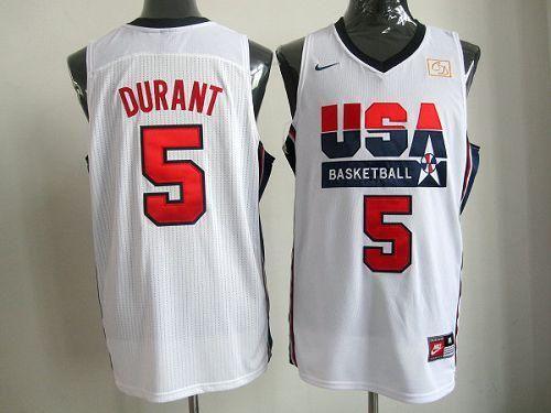 Nike Team USA  5 Kevin Durant White 2012 USA Basketball Retro Embroidered NBA  Jersey 262ec03ce