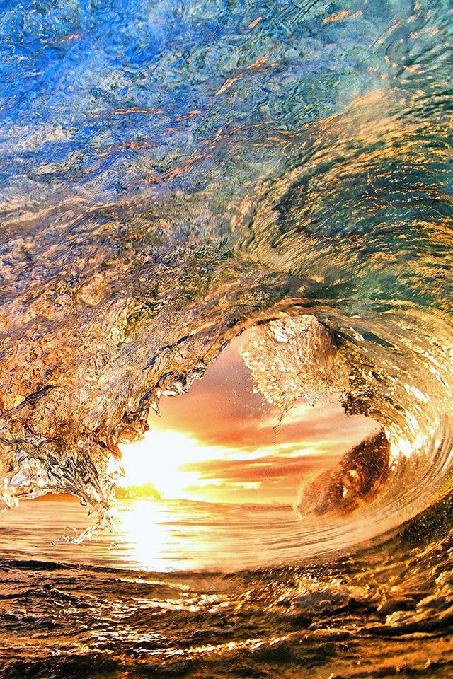 Sunset Wave Wallpaper Beach Iphone