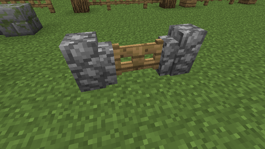 I never noticed fence gates could attach to cobblestone walls
