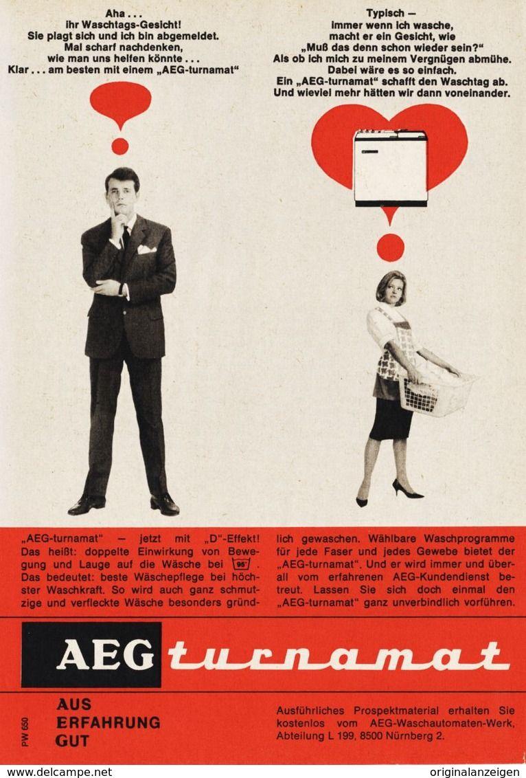 Original Werbung/ Anzeige 1964   AEG TURNAMAT WASCHMASCHINE   Ca. 120 X 170