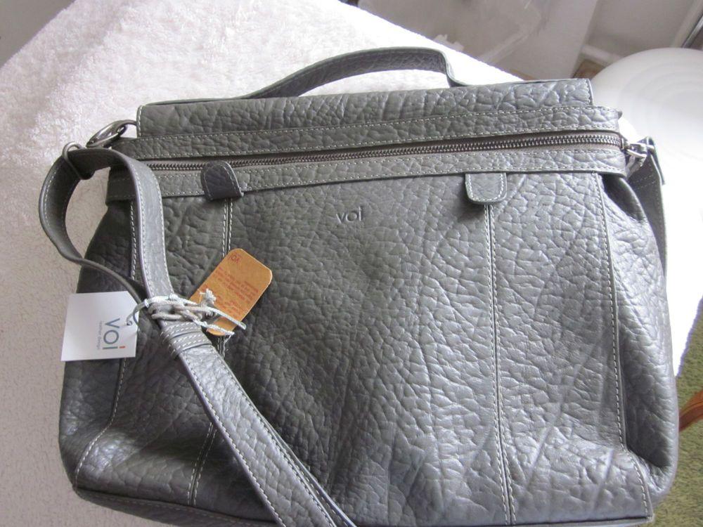 Voi Tasche Leder Handtasche Taupe Grau neu mit Taschenbeutel
