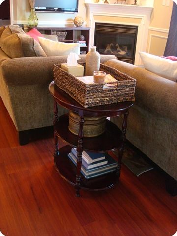 Basket on top of table - organizes and looks nice