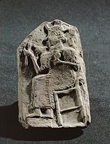Divinity sitting on a throne. Terracotta relief Late 14th to early 12th BCE, late Middle Syrian Period, from Emar (Mascana) Height 12.9 cm 08-02-08/49