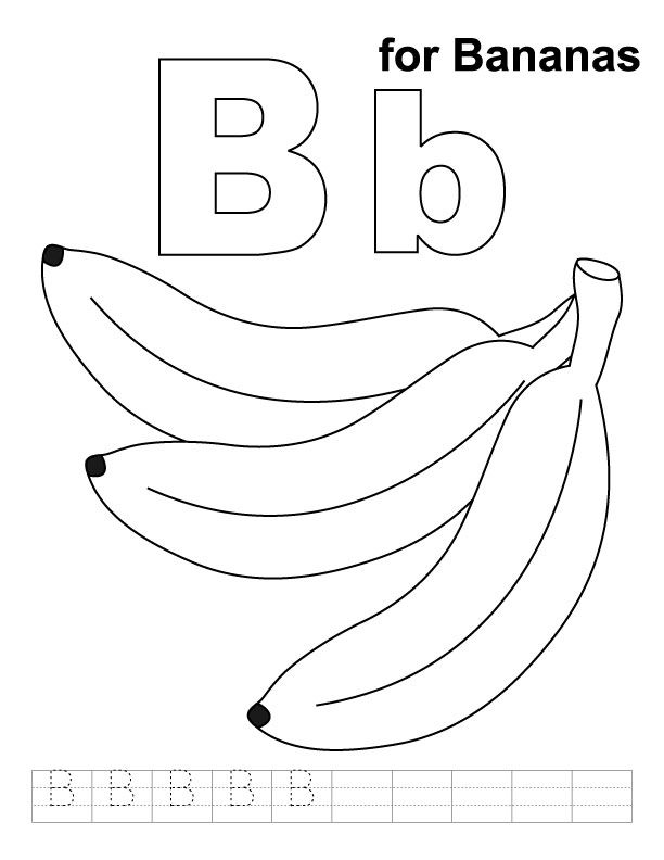B for bananas coloring page with handwriting practice  Summer