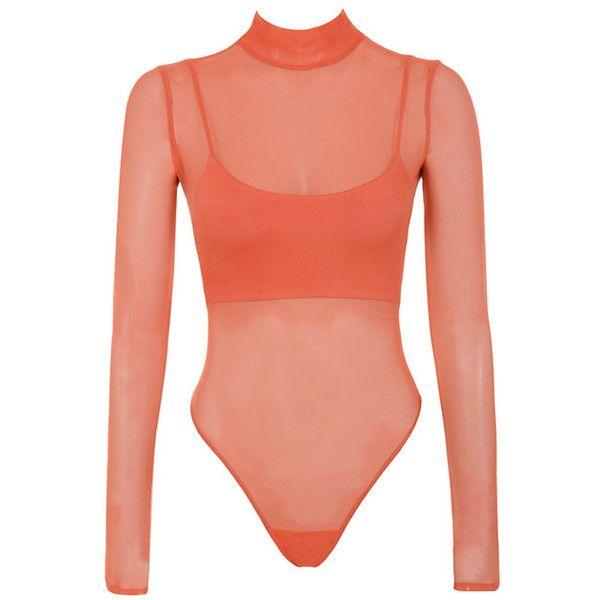 Hottie  Orange Mesh Bodysuit and Bralet - Mistress Rocks featuring  polyvore 8ae11f16b