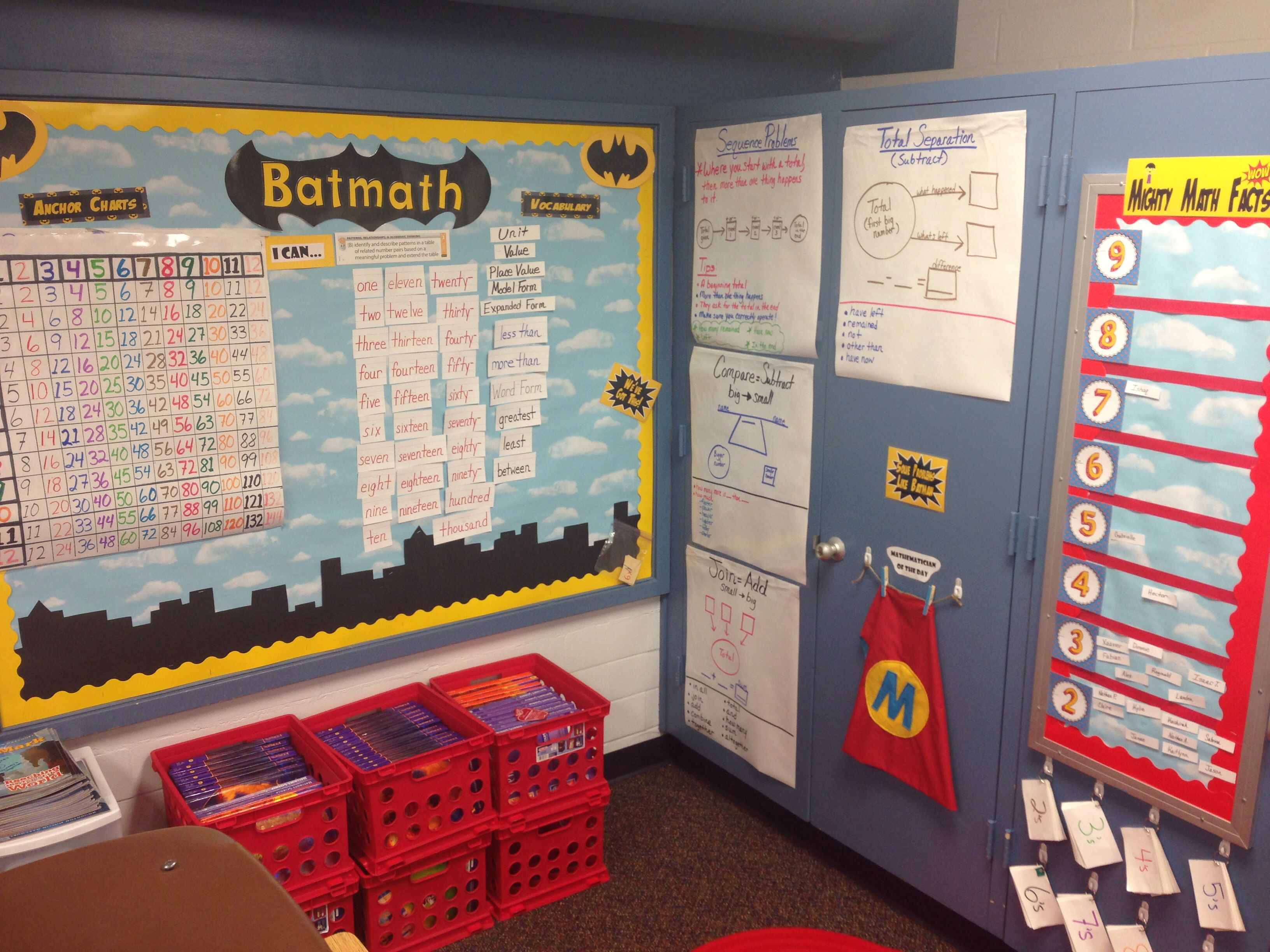 superhero theme classroom  math bulletin board
