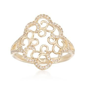 Ross-Simons - .27 ct. t.w. Diamond Open Scrollwork Ring in 14kt Yellow Gold - #873858
