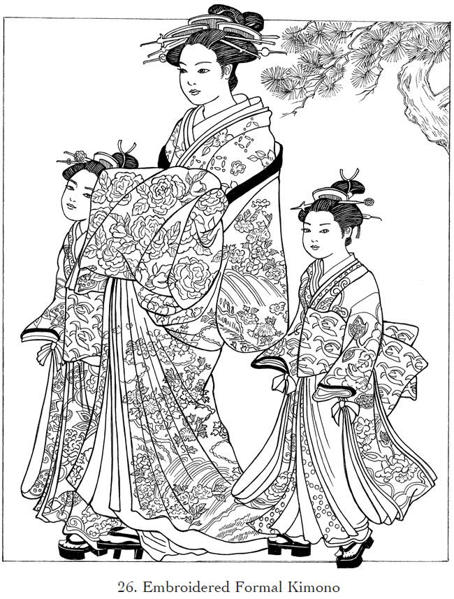 from Creative Haven Japanese Kimono Designs Coloring Book by Dover ...