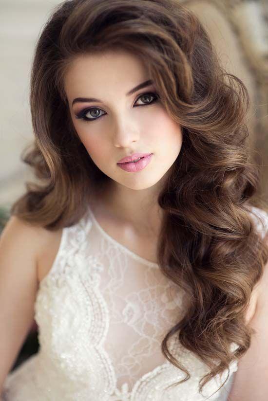 long wavy wedding hairstyle and makeup deer pearl flowers http www