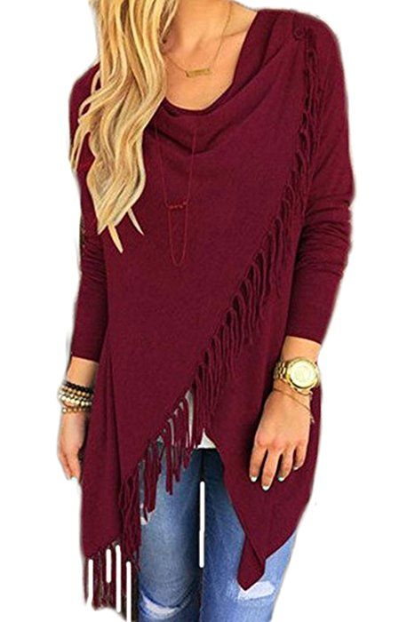ChongXiao Women's Summer Tassel Slash Shawl Long Sleeve Cardigan Blouse Tops Sweatershirt (Asian 2XL/US 12, Wine Red)