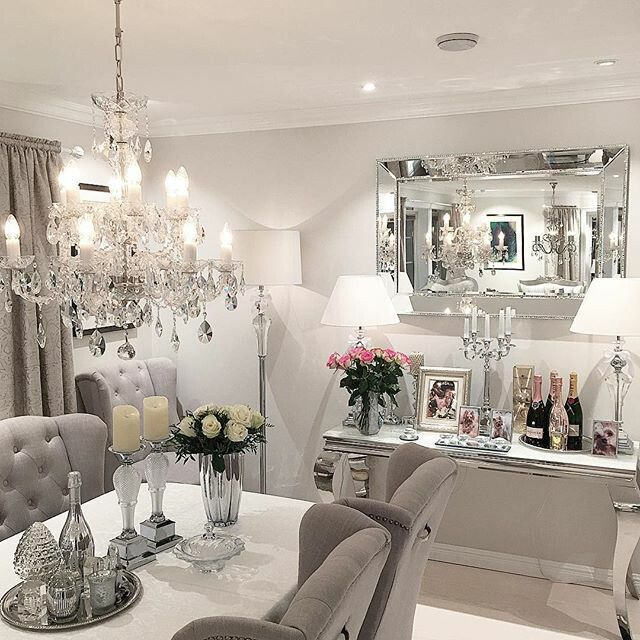 an attractive dining room with maybe a tad too much sparkle and shine - Silver Dining Room Interior