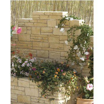 Bloc Floral Droit Armoroc En Pierre Reconstituee H10 X L51 Cm Leroy Merlin Parement Pierre Exterieur Muret Soutenement